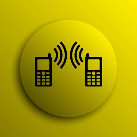 icono comunicacion: Communication icon. Yellow internet button. Foto de archivo