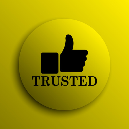 trusted: Trusted icon. Yellow internet button. Stock Photo