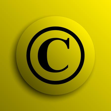 copyright: Copyright icon. Yellow internet button. Stock Photo