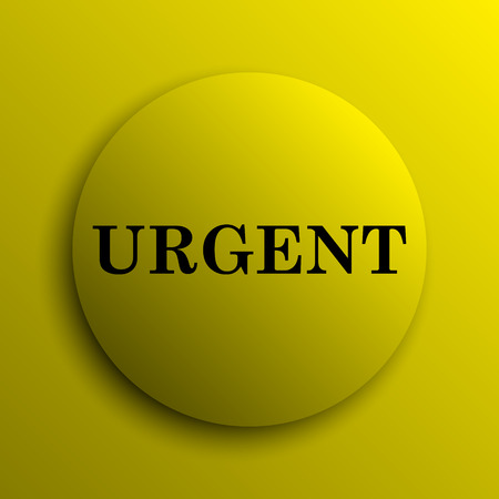 urgent: Urgent icon. Yellow internet button.