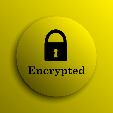 encrypted: Encrypted icon. Yellow internet button.