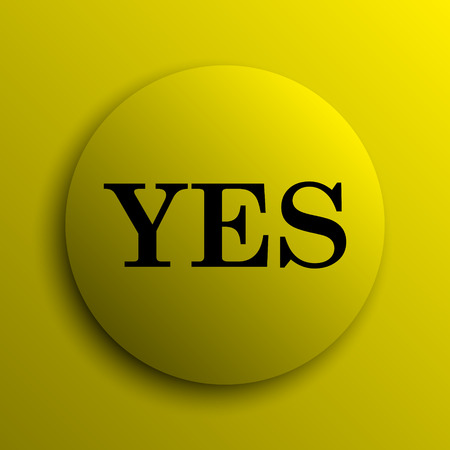 yes icon: Yes icon. Yellow internet button.