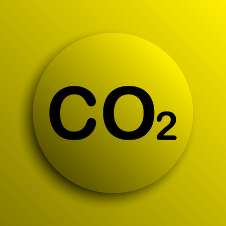 oxygen transport: CO2 icon. Yellow internet button. Stock Photo