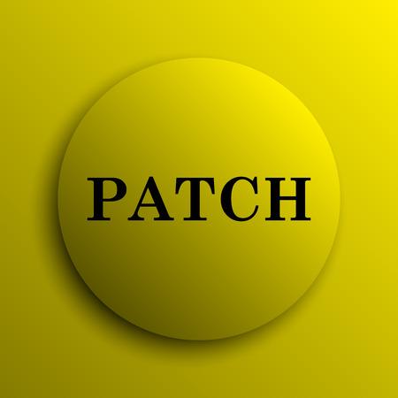 transmitting: Patch icon. Yellow internet button. Stock Photo