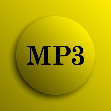 mp3: MP3 icon. Yellow internet button. Stock Photo
