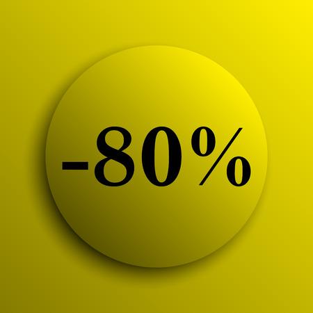 80: 80 percent discount icon. Yellow internet button.