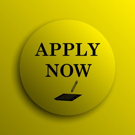 apply now: Apply now icon. Yellow internet button. Stock Photo