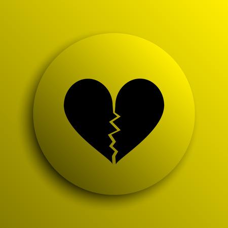 delusion: Broken heart icon. Yellow internet button. Stock Photo