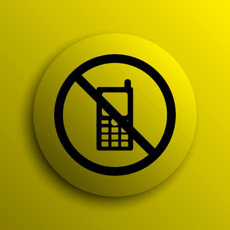 use regulation: Mobile phone restricted icon. Yellow internet button.