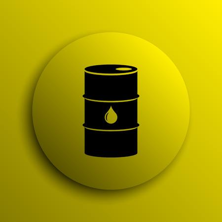 Oil barrel icon. Yellow internet button. photo