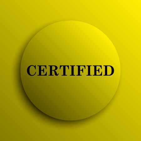 of ratification: Certified icon. Yellow internet button. Stock Photo