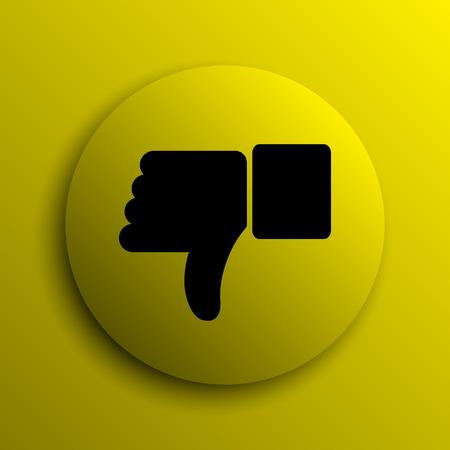 thumb down icon: Thumb down icon. Yellow internet button.