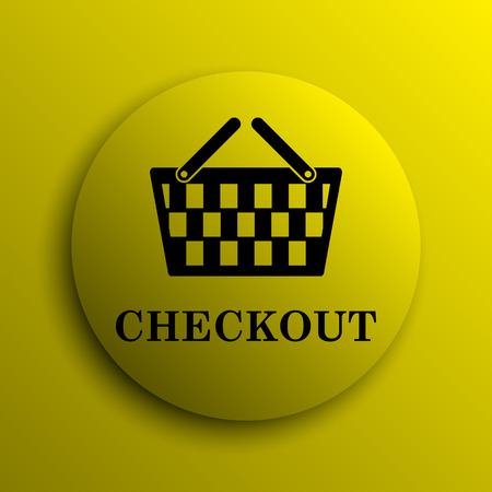 checkout: Checkout icon. Yellow internet button. Stock Photo