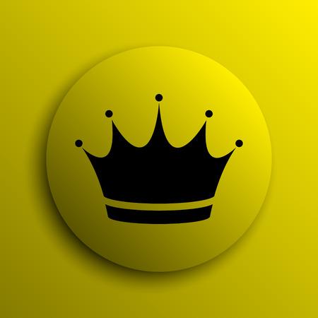 yellow crown: Crown icon. Yellow internet button. Stock Photo