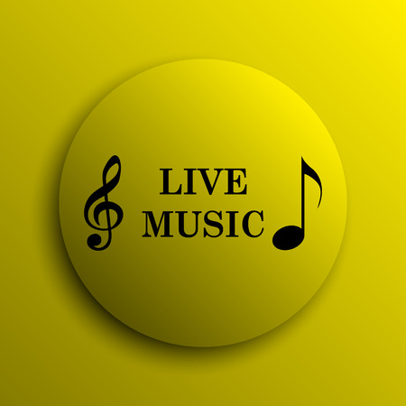 live music: Live music icon. Yellow internet button.