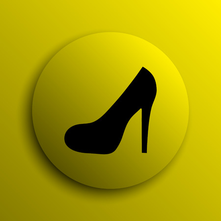 heel: High heel icon. Yellow internet button. Stock Photo
