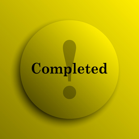 internet button: Completed icon. Yellow internet button.