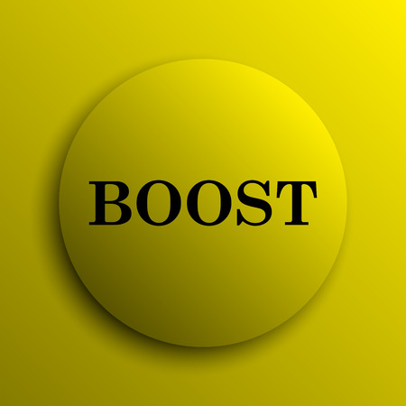 boost: Boost icon. Yellow internet button. Stock Photo