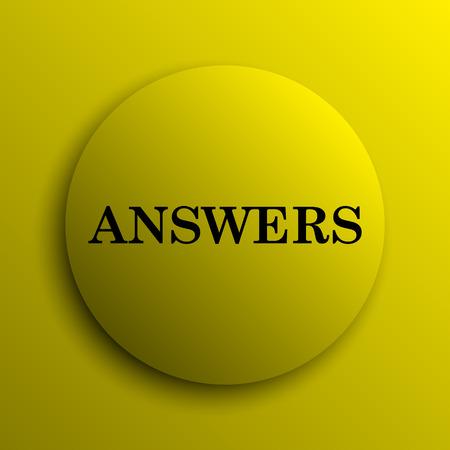 Answers icon. Yellow internet button. photo