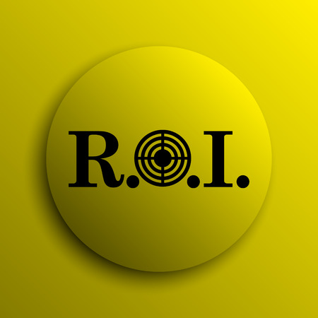 internet button: ROI icon. Yellow internet button.