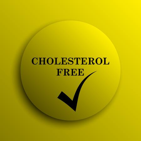 cholesterol free: Cholesterol free icon. Yellow internet button.