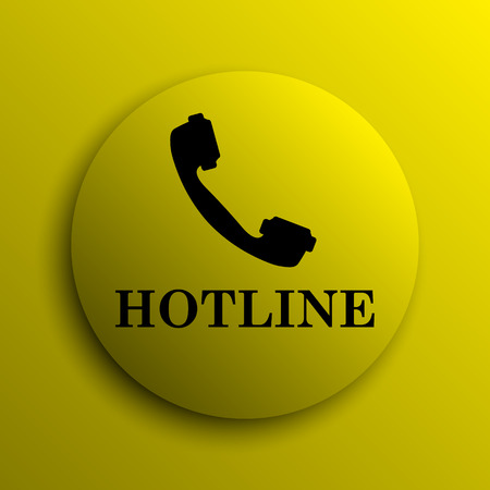 hotline: Hotline icon. Yellow internet button.