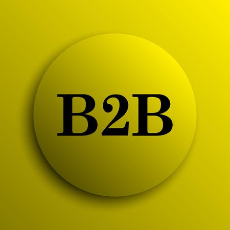 b2b: Icono de B2B. Bot�n amarillo internet.