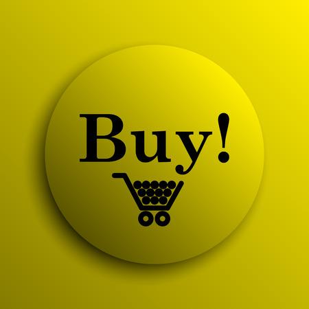 buy icon: Buy icon. Yellow internet button.