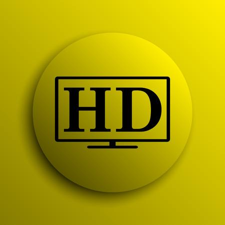 hd tv: HD TV icon. Yellow internet button. Stock Photo
