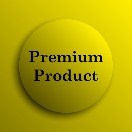 first rate: Premium product icon. Yellow internet button.