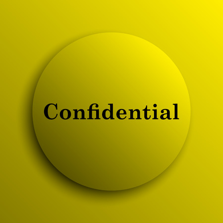 confidentiality: Confidential icon. Yellow internet button. Stock Photo
