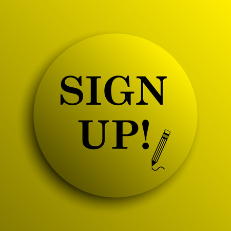 sign up icon: Sign up icon. Yellow internet button.
