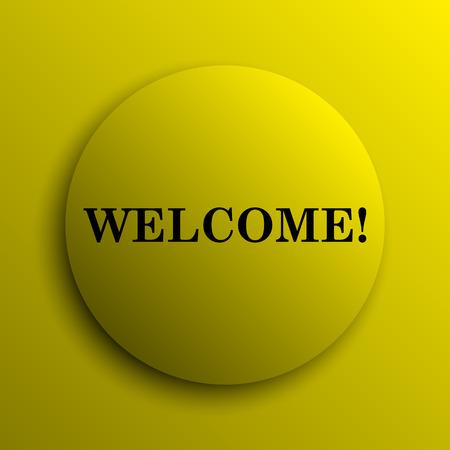 bill board: Welcome icon. Yellow internet button.
