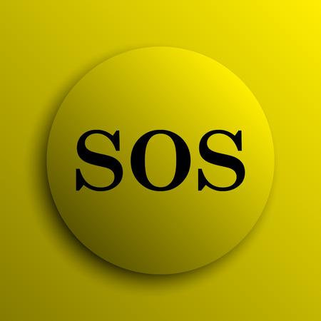 sos: SOS icon. Yellow internet button. Stock Photo