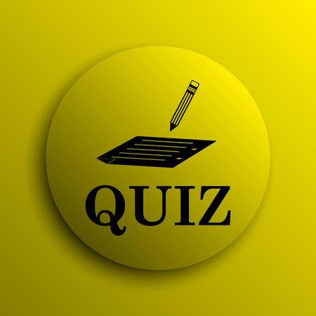 quiz: Quiz icon. Yellow internet button. Stock Photo