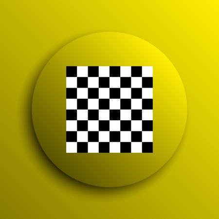 finish flag: Finish flag icon. Yellow internet button.