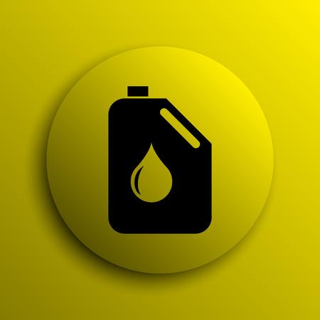 Oil can icon. Yellow internet button. photo