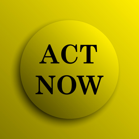 act: Act now icon. Yellow internet button.