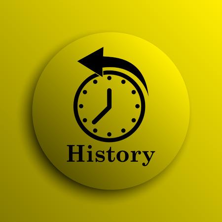 revolve: History icon. Yellow internet button.