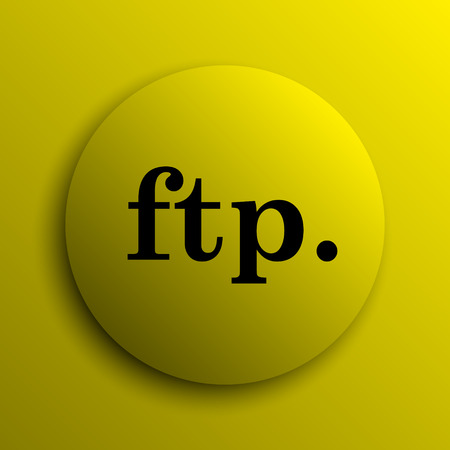 ftp: ftp. icon. Yellow internet button. Stock Photo