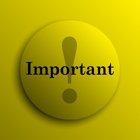 important: Important icon. Yellow internet button. Stock Photo