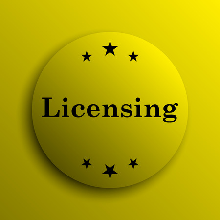 licensing: Licensing icon. Yellow internet button.