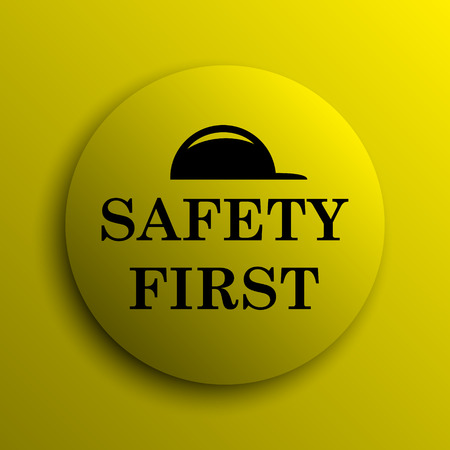 cautionary: Safety first icon. Yellow internet button.