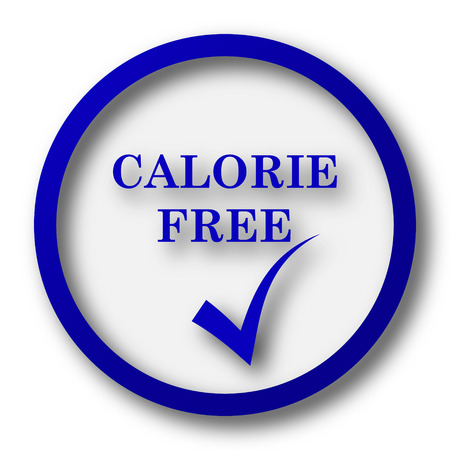 calorie: Calorie free icon. Blue internet button on white background.
