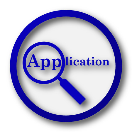 job offers: Application icon. Blue internet button on white background.