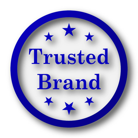trusted: Trusted brand icon. Blue internet button on white background.