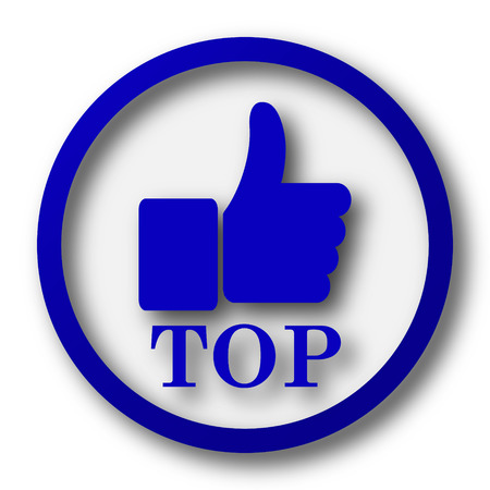 best rated: Top icon. Blue internet button on white background.