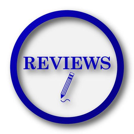 worthy: Reviews icon. Blue internet button on white background. Stock Photo