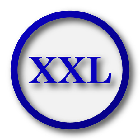 size specification: XXL  icon. Blue internet button on white background. Stock Photo