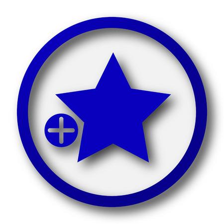 favoritos: A�adir a favoritos icono. Bot�n azul Internet sobre fondo blanco. Foto de archivo